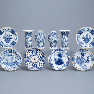 Six Dutch Delft blue and white vases and six plates, 18th C.