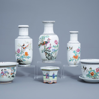 Three Chinese famille rose vases with birds among blossoming branches and three various jardinières, 20th C.