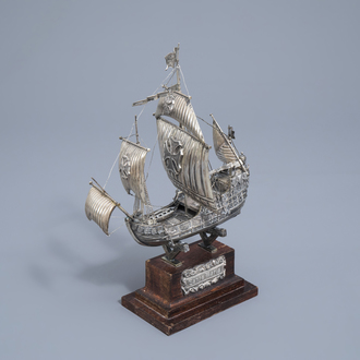 A Spanish silver model of the 'Santa Maria' on a wooden base, 20th C.