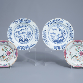 A pair of Chinese blue and white dishes and a pair of famille rose plates, Yongzheng/Qianlong