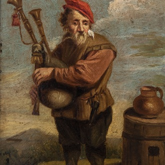 Flemish school, follower of Abraham Teniers (1629-1670): A peasant playing a bagpipe, oil on panel, 18th C.