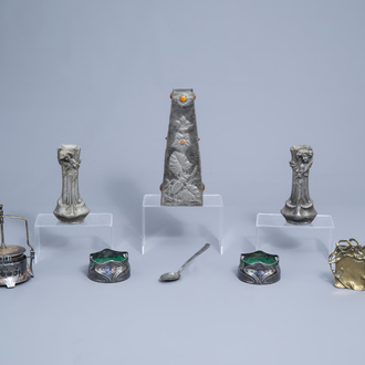 An interesting and varied collection of silver plated, pewter and brass Art Nouveau and Art Deco items, various origins, first half of the 20th C.