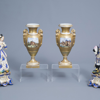 A pair of French polychrome and gilt decorated old Paris porcelain noble figures and a pair of gilt 'Empire' vases, 19th/20th C.