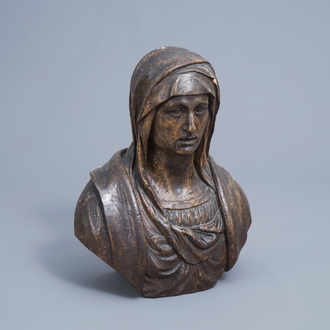 A patinated carved wooden bust of the Mother of Sorrows, Italy or France, 18th C.