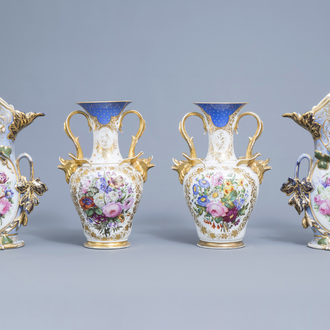 Two pairs of French polychrome and gilt decorated old Paris porcelain vases with floral and relief design, 19th C.