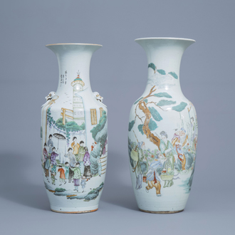 Two Chinese famille rose vases with figures in a garden, 19th/20th C.