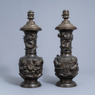 A pair of impressive Japanese partly gilt bronze vases with Gagneau mounts, Meiji, 19th C.