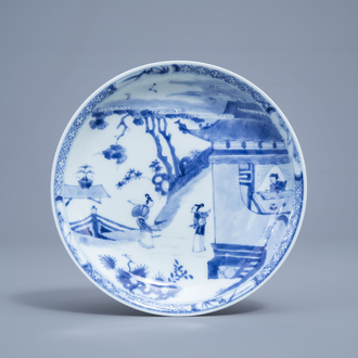 A Chinese blue and white 'Romance of the Western Chamber' plate, Yongzheng