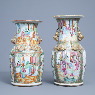 Two Chinese Canton famille rose vases, 19th C.
