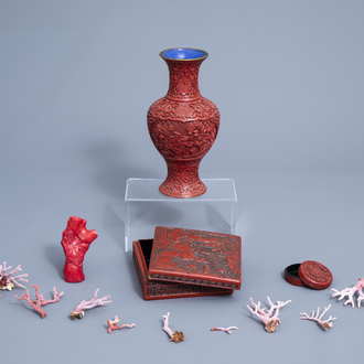 A varied collection of Chinese and Japanese cinnabar lacquer wares and coral branches, 20th C.