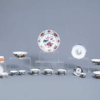 A varied collection of Chinese famille rose, grisaille, Imari style and iron red porcelain, 18th C. and later