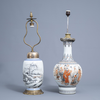 Two Chinese vases with immortals and a winter landscape mounted as lamps, 20th C.