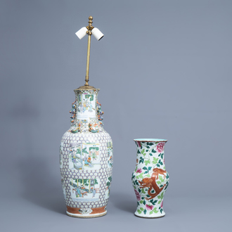 A Chinese famille verte vase mounted as a lamp and a famille rose yenyen 'dragon and phoenix' vase, 19th/20th C.