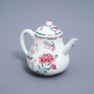 A Chinese famille rose teapot and cover with birds among blossoming branches, Qianlong