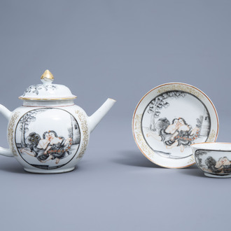 A Chinese grisaille, gilt and iron red teapot, cup and saucer with a couple in love, Qianlong