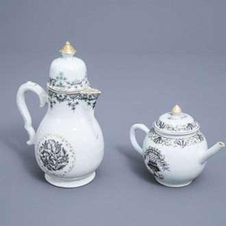 A Chinese grisaille and gilt teapot and coffee pot with floral design, Qianlong