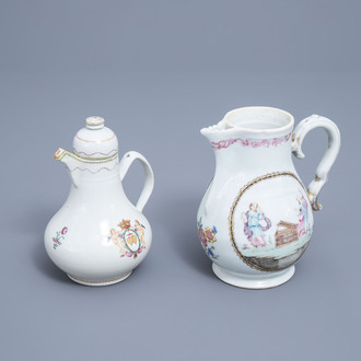 Two Chinese famille rose jugs with European design, Qianlong
