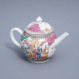 A Chinese famille rose 'Mandarin' teapot and cover, Qianlong