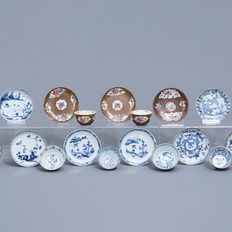 Six Chinese famille rose and blue and white Batavian ware cups and eleven saucers, Kangxi/Qianlong