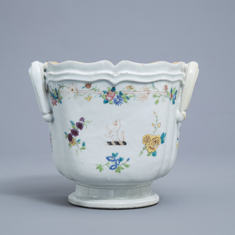 A Chinese famille rose armorial cooler with floral design, Qianlong