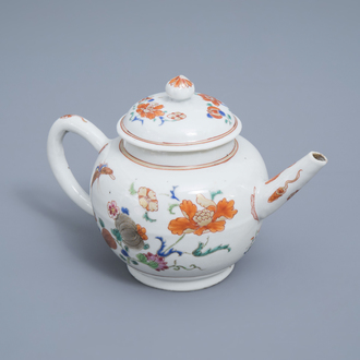 A Chinese famille rose teapot and cover with butterflies among blossoming branches, Qianlong