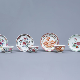 Four Chinese famille rose cups and saucers with floral design, Qianlong