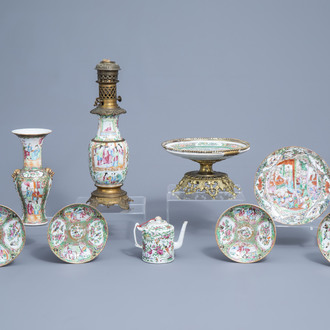 A varied collection of Chinese Canton famille rose porcelain, 19th/20th C.