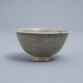 A Chinese carved Yaozhou celadon bowl, Song