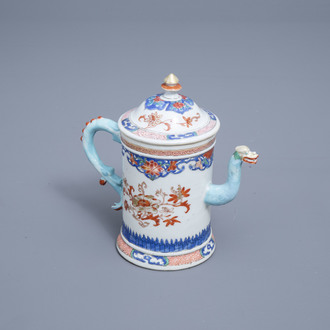 A Chinese famille rose dragon spouted teapot and cover with floral design, Yongzheng