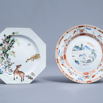 A Chinese octagonal famille rose plate with buffalo and a verte-Imari plate with a landscape and floral design, Qianlong