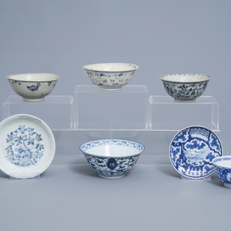 A varied collection of Chinese blue and white bowls and saucers, Ming and later