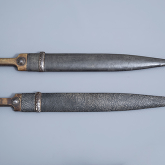 Two Caucasian 'kindjal' daggers with accompanying scabbards 19th/20th C.