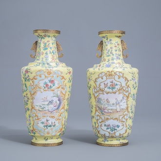 A pair of Chinese Canton enamel vases, 20th C.