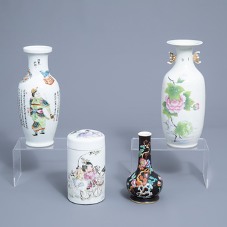 Three various Chinese famille rose vases and a jar and cover with figures in a landscape, 19th/20th C.