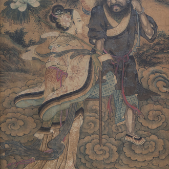 Chinese school, ink and colours on paper, 18th/19th C.: Li Tieguai and an Immortal