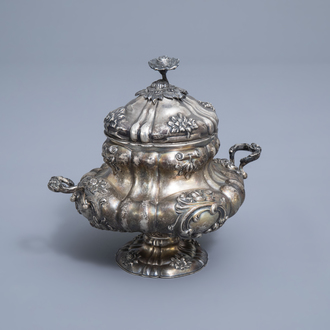 A Belgian silver sugar bowl with floral relief design, maker's mark Wolfers, 833/000, Brussels, 19th C.