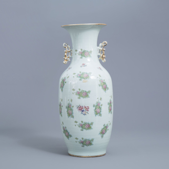 A Chinese famille rose vase with floral design, 19th C;
