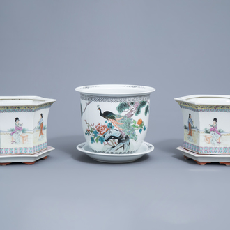 A pair of Chinese famille rose jardinières on stand with ladies in a garden and one with a bird among blossoming branches, 20th C.