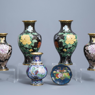 Five Chinese cloisonné vases and a saucer dish, 20th C.