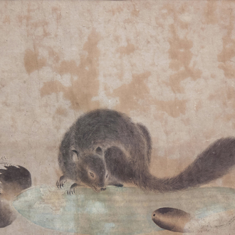 Japanese school, ink and colours on paper, Meiji, 19th C.: A squirrel with vegetables