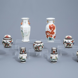 A varied collection of Chinese Nanking crackle glazed famille verte, qianjiang cai and iron red porcelain, 19th/20th C.