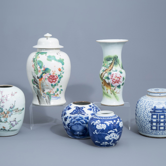 Six various Chinese famille rose, blue and white vases and jars, 19th/20th C.