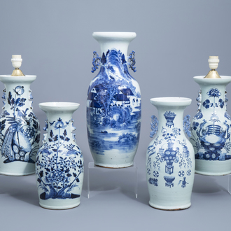 A Chinese blue and white 'landscape' vase and four celadon vases, 19th/20th C.