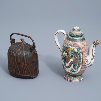 A Japanese Satsuma teapot and cover and one in carved wood, Meiji, 19th/20th C.