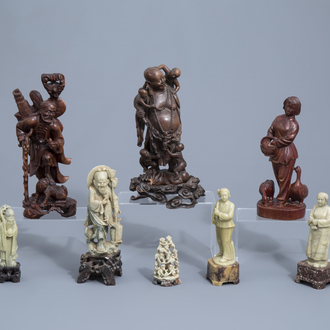 Five Chinese soapstone figures and three in carved wood, 19th/20th C.
