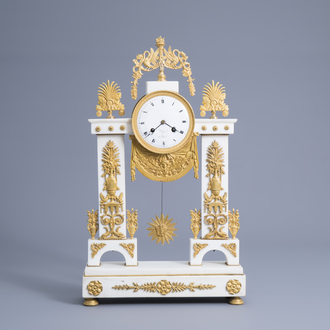 A French Neoclassical gilt bronze mounted white marble portico clock, ca. 1800