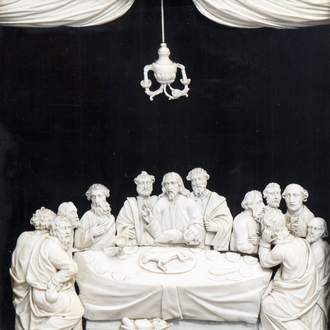 A French carved ivory relief depicting the Last Supper, probably Dieppe, 19th C.