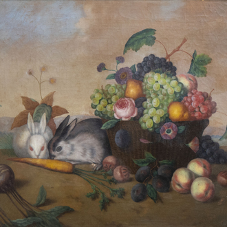 Ferdinand Küss (1800-1886): Still life with fruits and two rabbits, oil on canvas