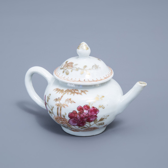 A small Chinese famille rose and gilt teapot and cover with floral design, Qianlong