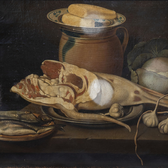 German school: Still life with fish, meat, vegetables and crockery, oil on canvas, 18th C.